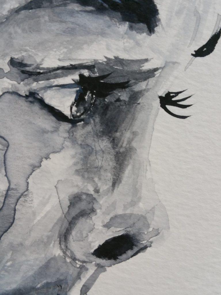eyes black Watercolor painting