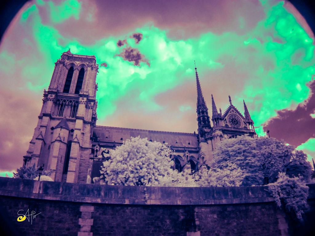 Fotografía en infrarrojo de la catedral Notre Dame
