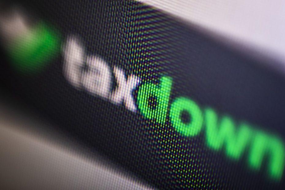 logotipo de taxdown plasmado en la pantalla